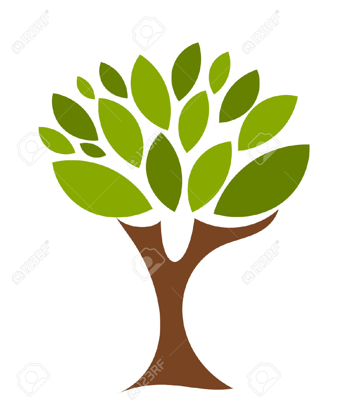 Single Leaf On A Tree Clipart.