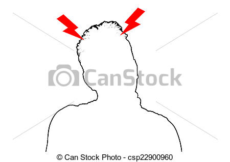 Stock Illustration of Terrible headache Silhouette.