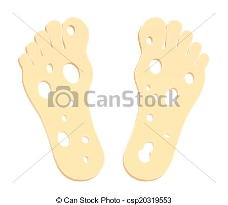 Clipart Vector of Smelly Cheesy Feet.