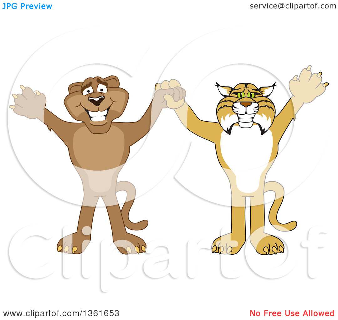 Clipart of Bobcat and Cougar School Mascot Characters Holding.