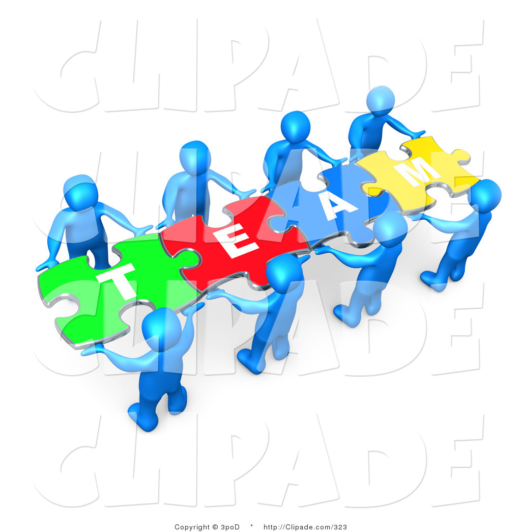 Clip Art of a Team of Eight Blue People Holding up Connected.