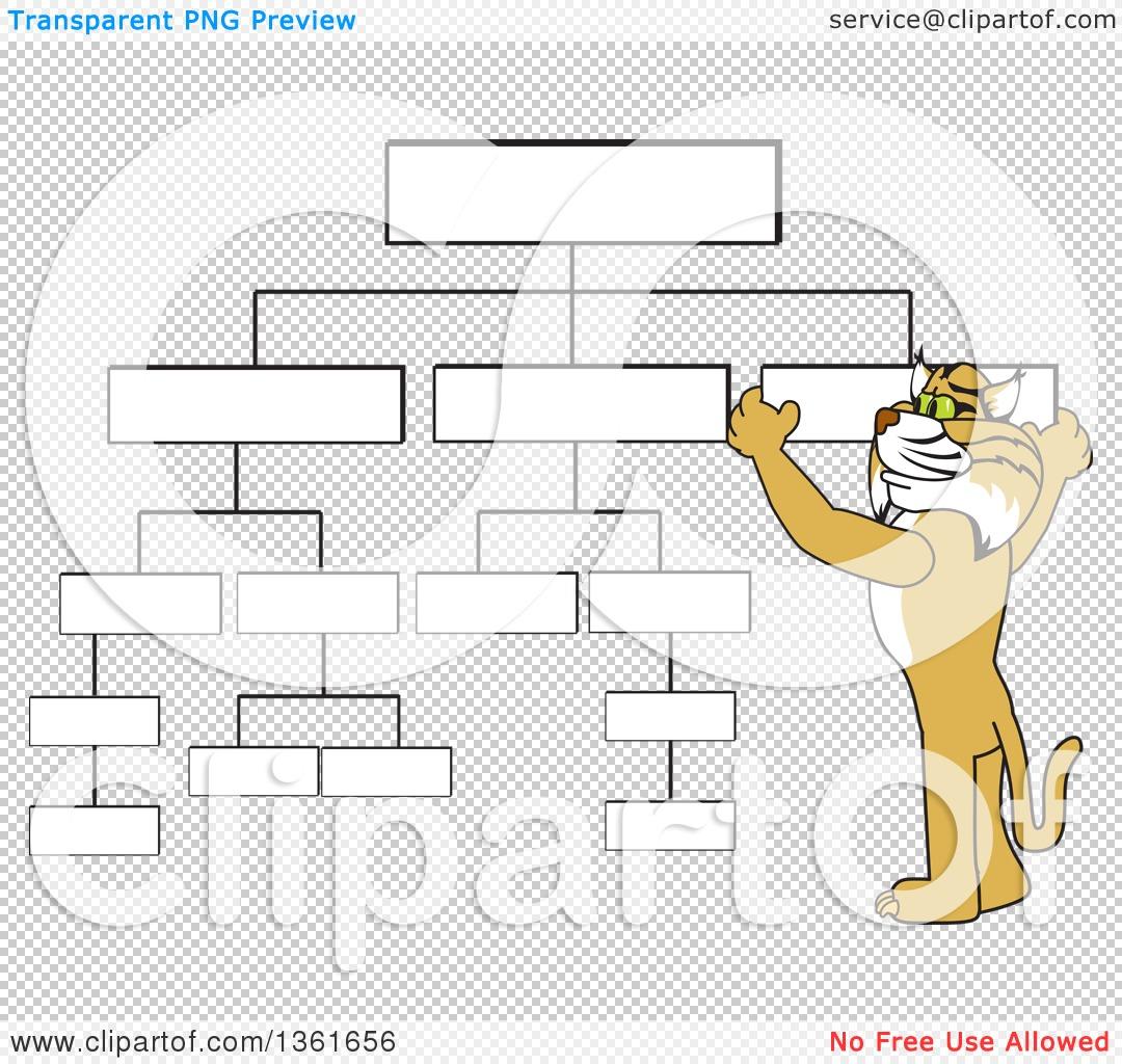 Clipart of a Bobcat School Mascot Character Setting up a Chart.