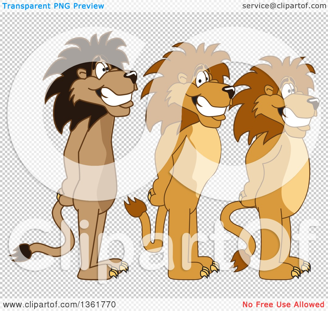 Clipart of Lion School Mascot Characters Standing in Line.