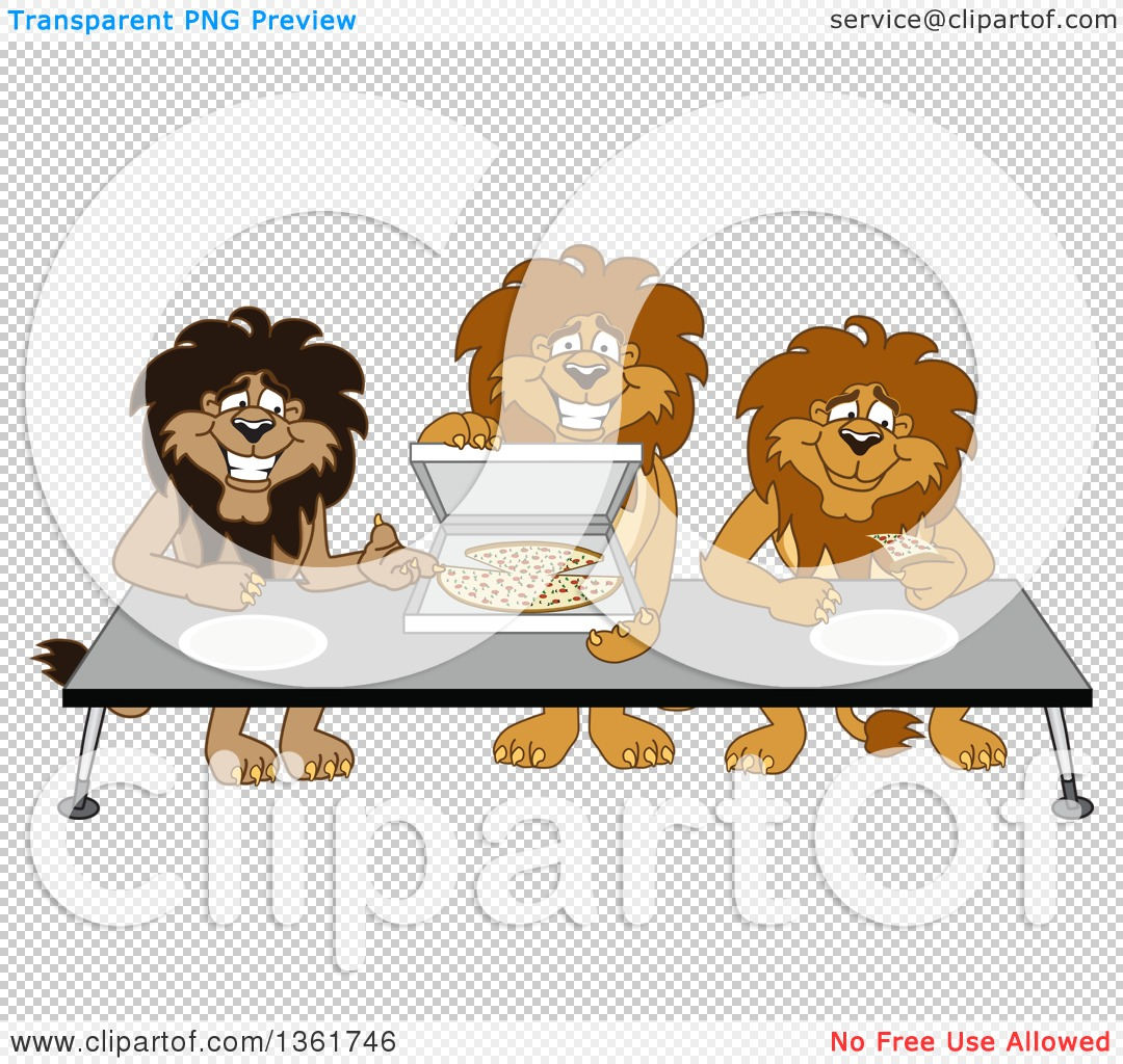 Clipart of Lion School Mascot Characters Offering Pizza.