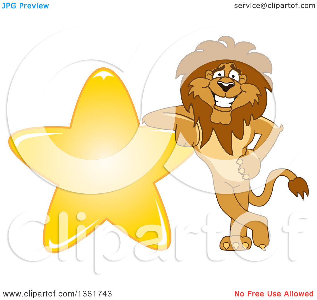 Clipart of a Lion School Mascot Character Leaning on a Star.
