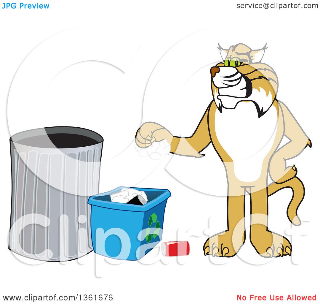 Clipart of a Bobcat School Mascot Character Recycling, Symbolizing.