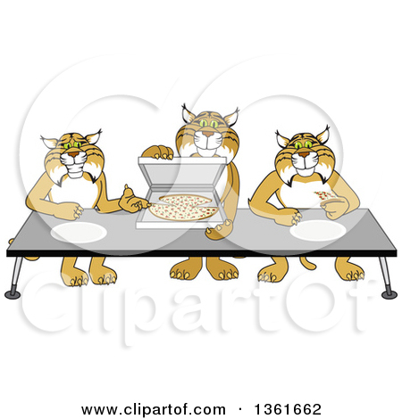 Clipart of Bobcat School Mascot Characters Offering Pizza.