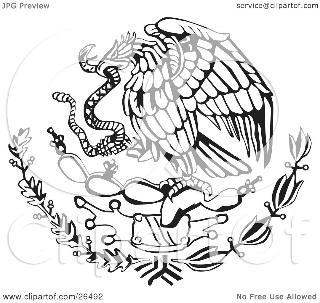 Clipart Illustration of The Mexican Coat Of Arms Showing The Eagle.