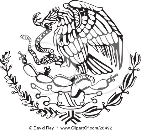 Symbols Of The Snake In The Mexican Flag Clipart.