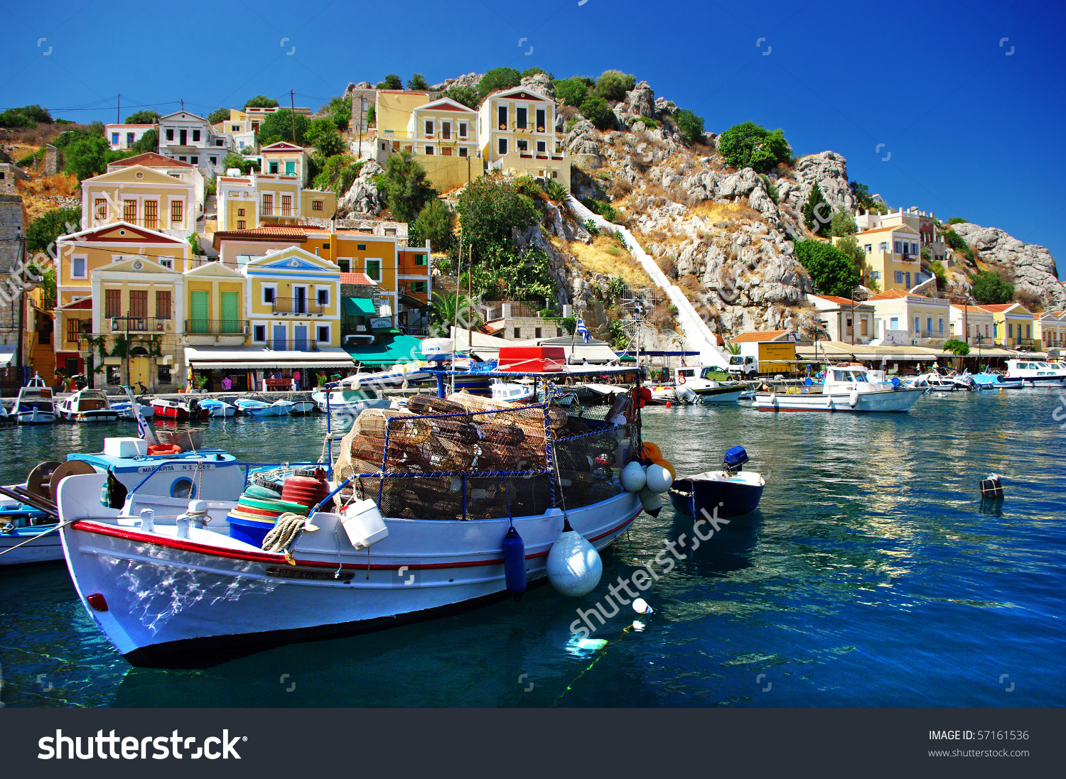 Amazing Greece Pictorial Island Symi Stock Photo 57161536.