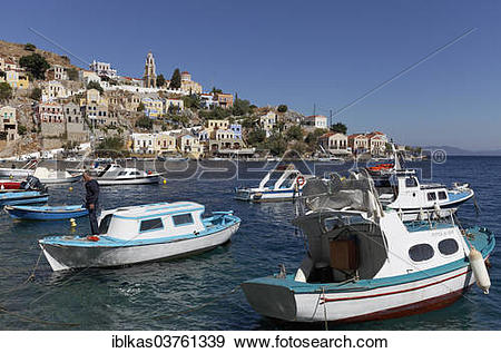 "Stock Photograph of ""Fishing boats in the harbour, Symi, Symi."