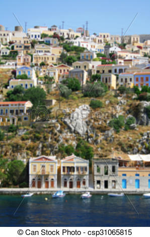 Stock Photography of Greece. Island Symi. In blur style.