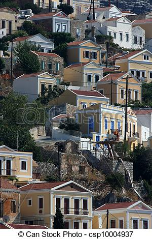 Drawings of Symi, Greece csp10004937.