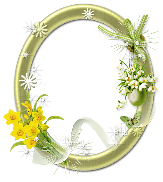 Cute Oval Frame with Flowers.