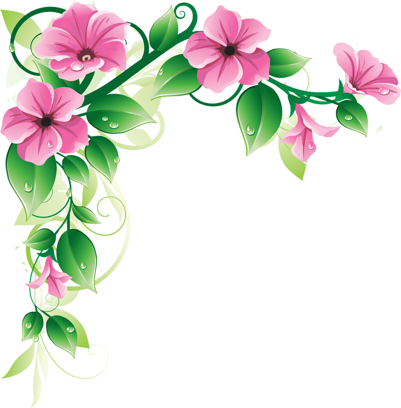 Pink Flower Border Clipart.