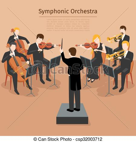 Vector Clip Art of Symphonic orchestra vector illustration.