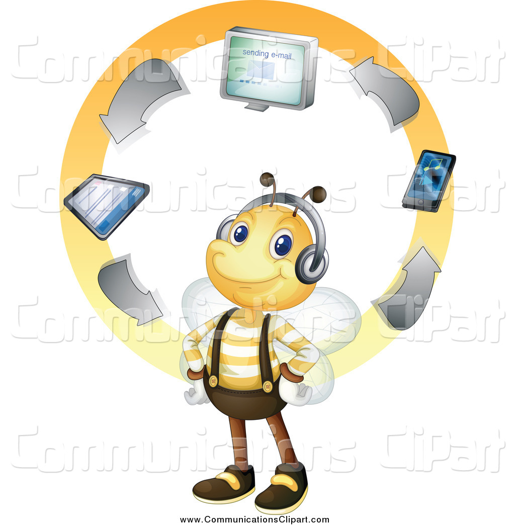 Communication Clipart of a Bee Synced with Electronic Items by.