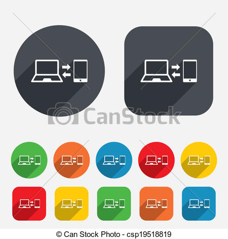 Vector Clip Art of Synchronization icon. Notebook with smartphone.