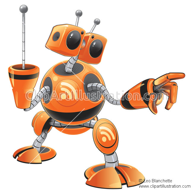 ClipArt Illustration of RSS Syndication Feed Bot Ready to Deliver.