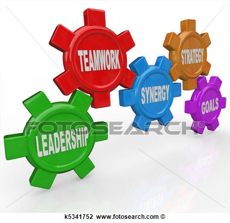 Clip Art Of Gears Leadership Teamwork Synergy Strategy Goals.