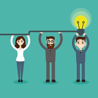 Synergy concept. Man hold bulb Clipart Image.