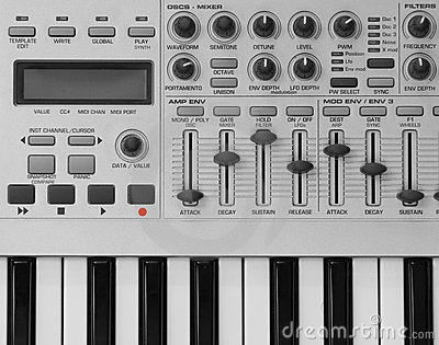 Knobs On Synthesizer Royalty Free Stock Photography.