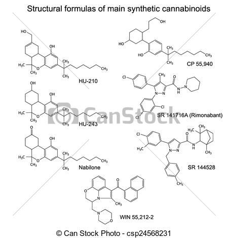 Vectors of Main synthetic cannabinoids,.