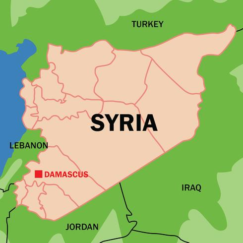 Outlined Syria Map Vector.