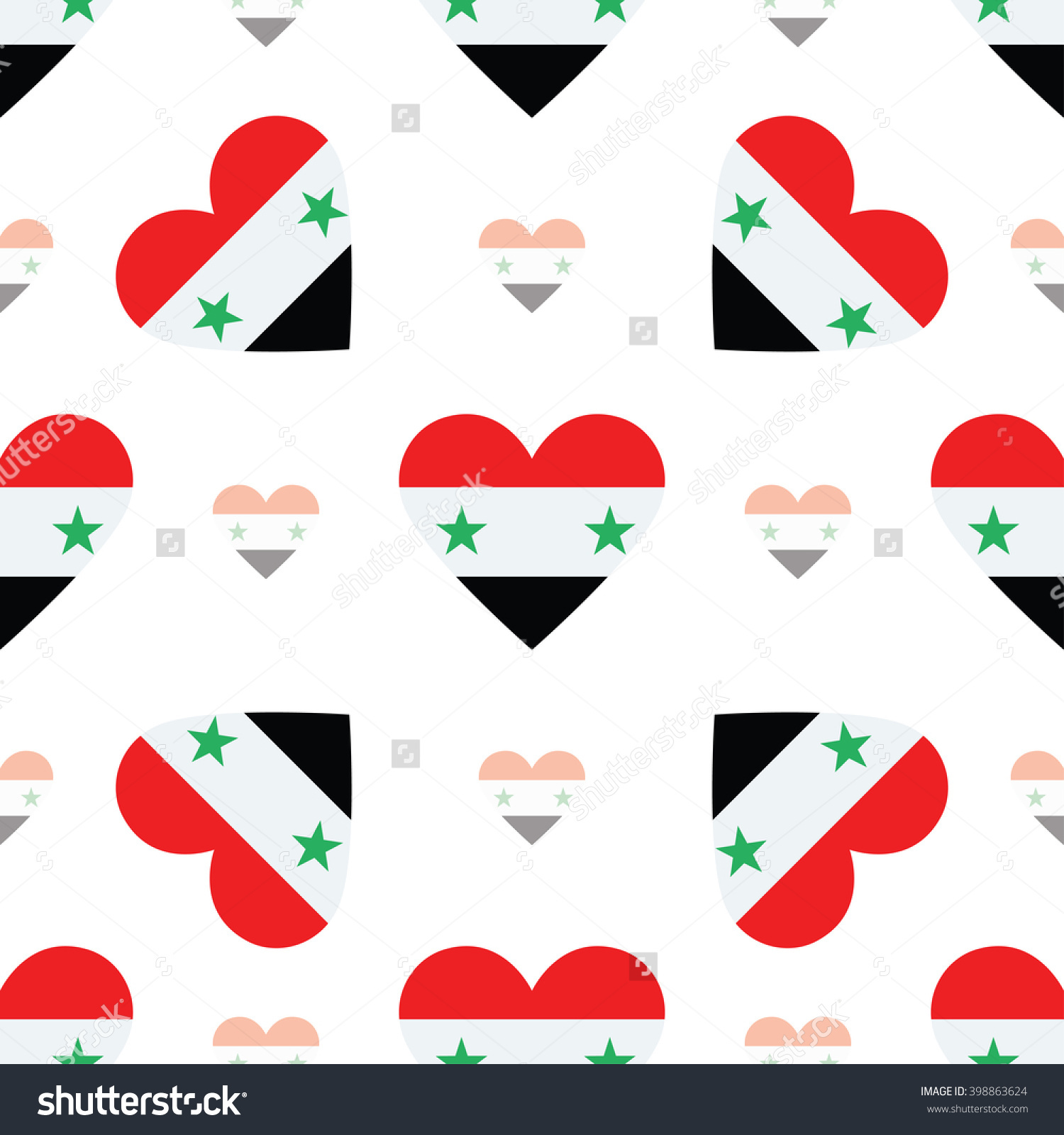 Syrian Arab Republic Flag Heart Seamless Pattern. Patriotic Syrian.