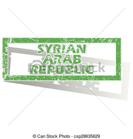 Vector Illustration of Outlined Syrian Arab Republic stamp.