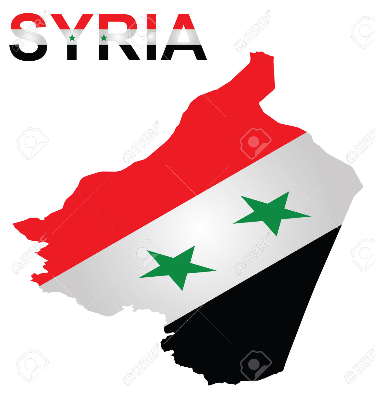 Isometric Flag Of Syrian Arab Republic Overlaid On Outline Map.
