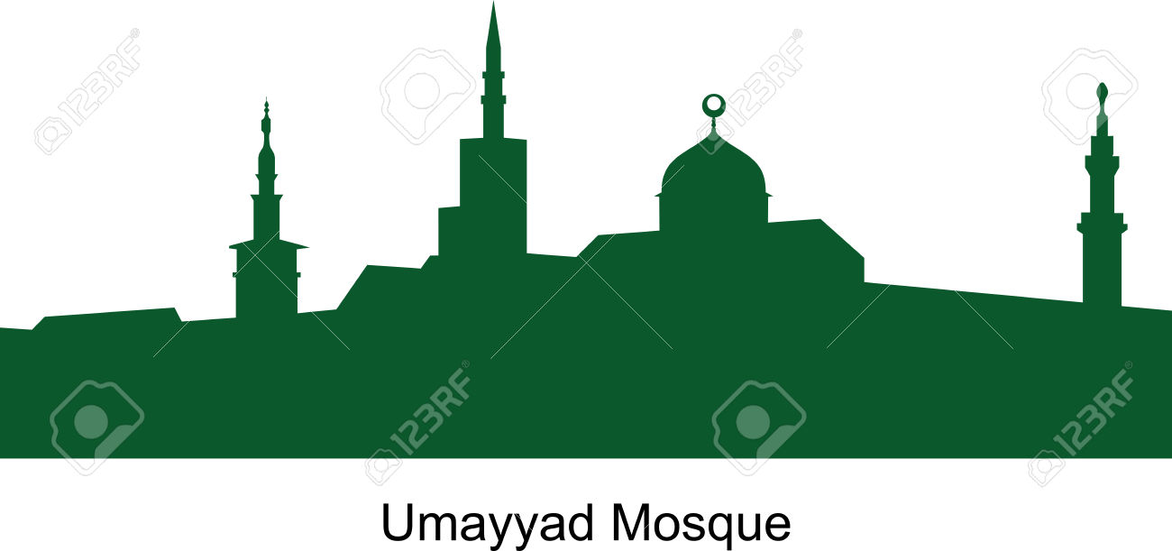 The Umayyad Mosque. Vector. Syria. Arab Republic Royalty Free.