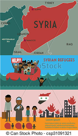 Clip Art of Syrian refugees infographic. Civil war in Syria.