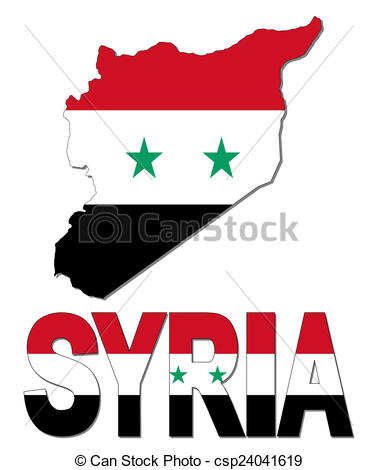 Clipart of Syria map flag and text illustration csp24041619.