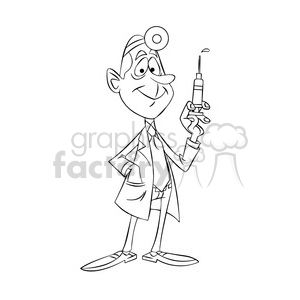 doug the cartoon doctor holding a hypodermic needle black white clipart.  Royalty.