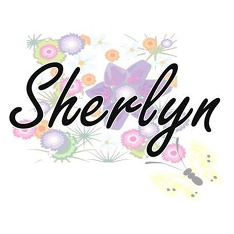 Sherlyn Artistic Name Design with Flowers Dog Tags by Admin_CP2183672.