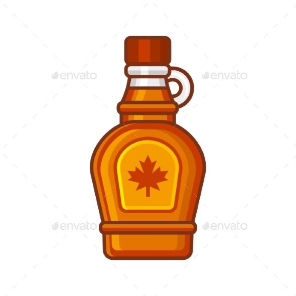 Maple Syrup Bottle Icon. Flat Style Design Vector.