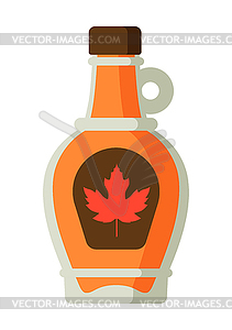 Maple syrup in bottle.