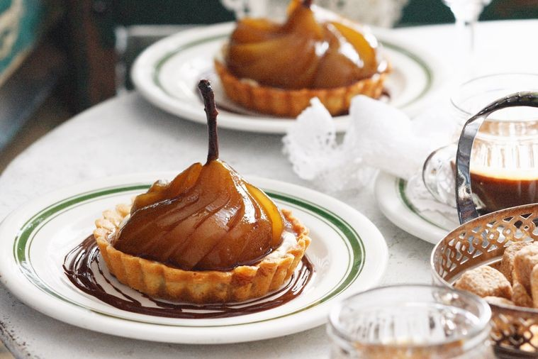 Spanish pear tarts with Pedro Ximénez syrup.