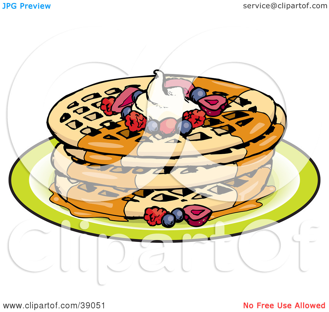 Clipart Illustration of a Stack Of Four Round Waffles Garnished.
