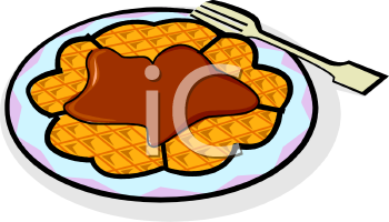 Royalty Free Clip Art Image: A Waffle Covered In Syrup.