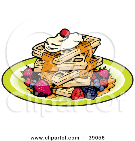 Clipart Illustration of a Stack Of Five Square Waffles Garnished.