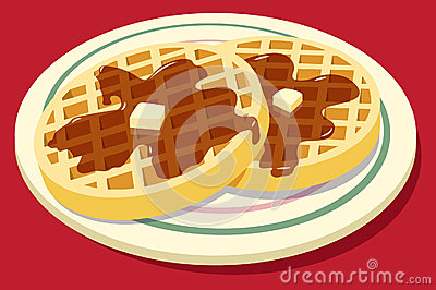 Waffles Syrup Butter Stock Illustrations.