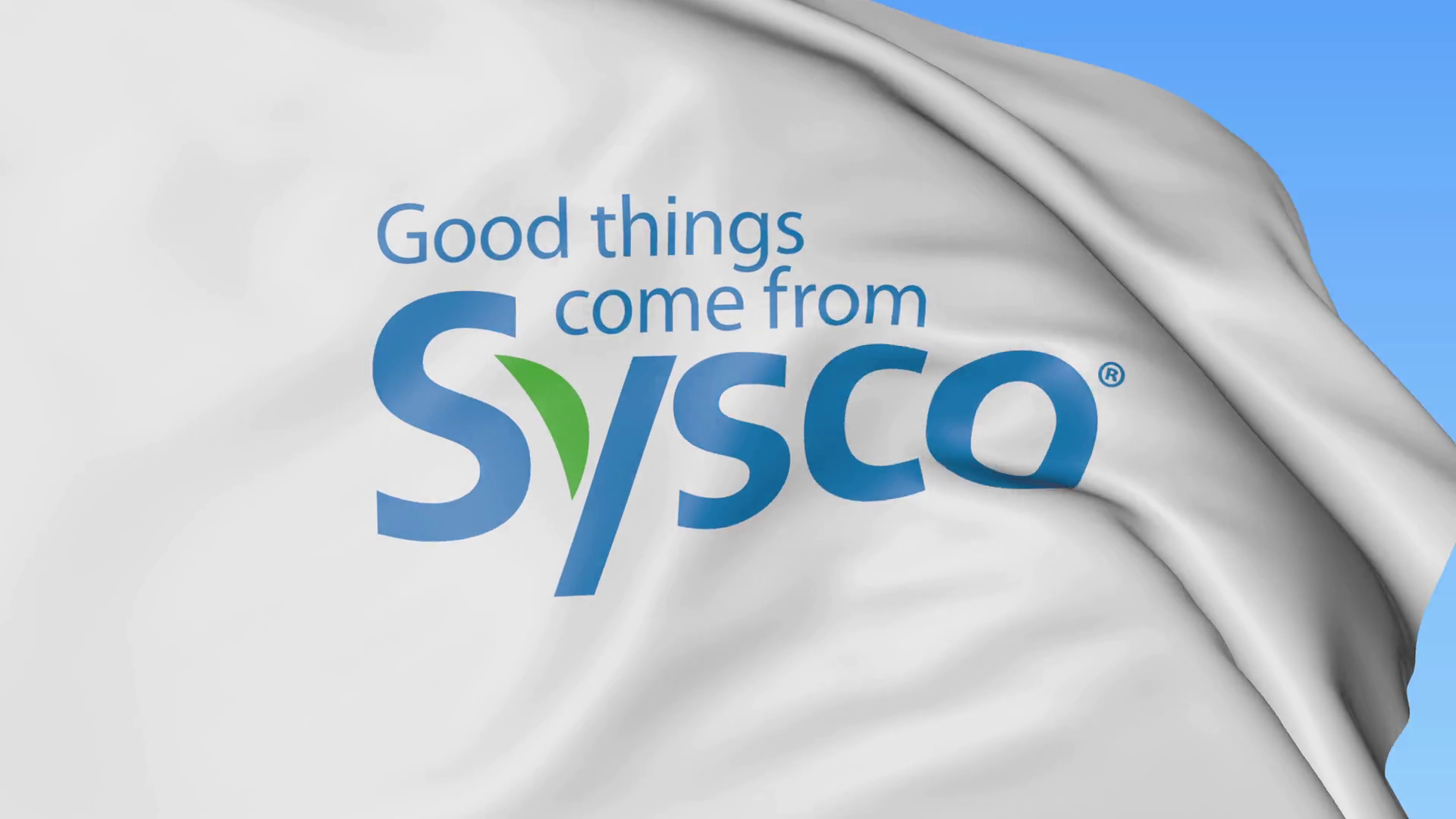 Waving flag with Sysco Corporation logo. Seamles loop 4K editorial  animation Stock Video Footage.