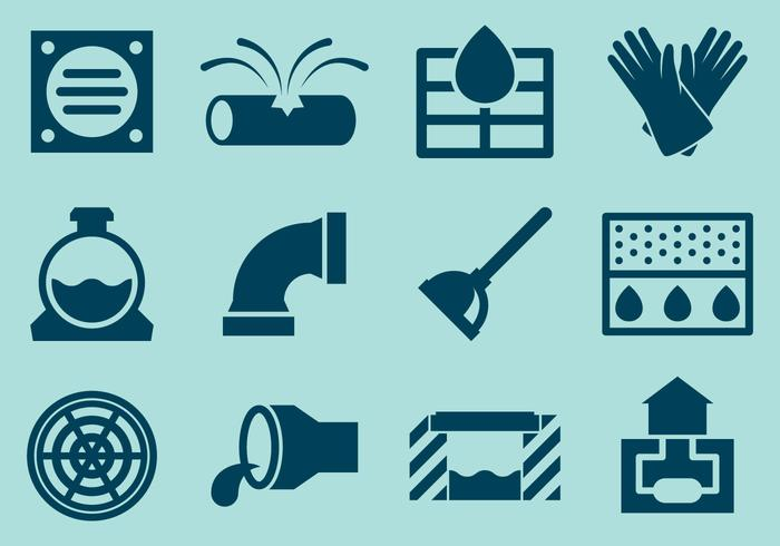 Sewer System Icon Vectors.