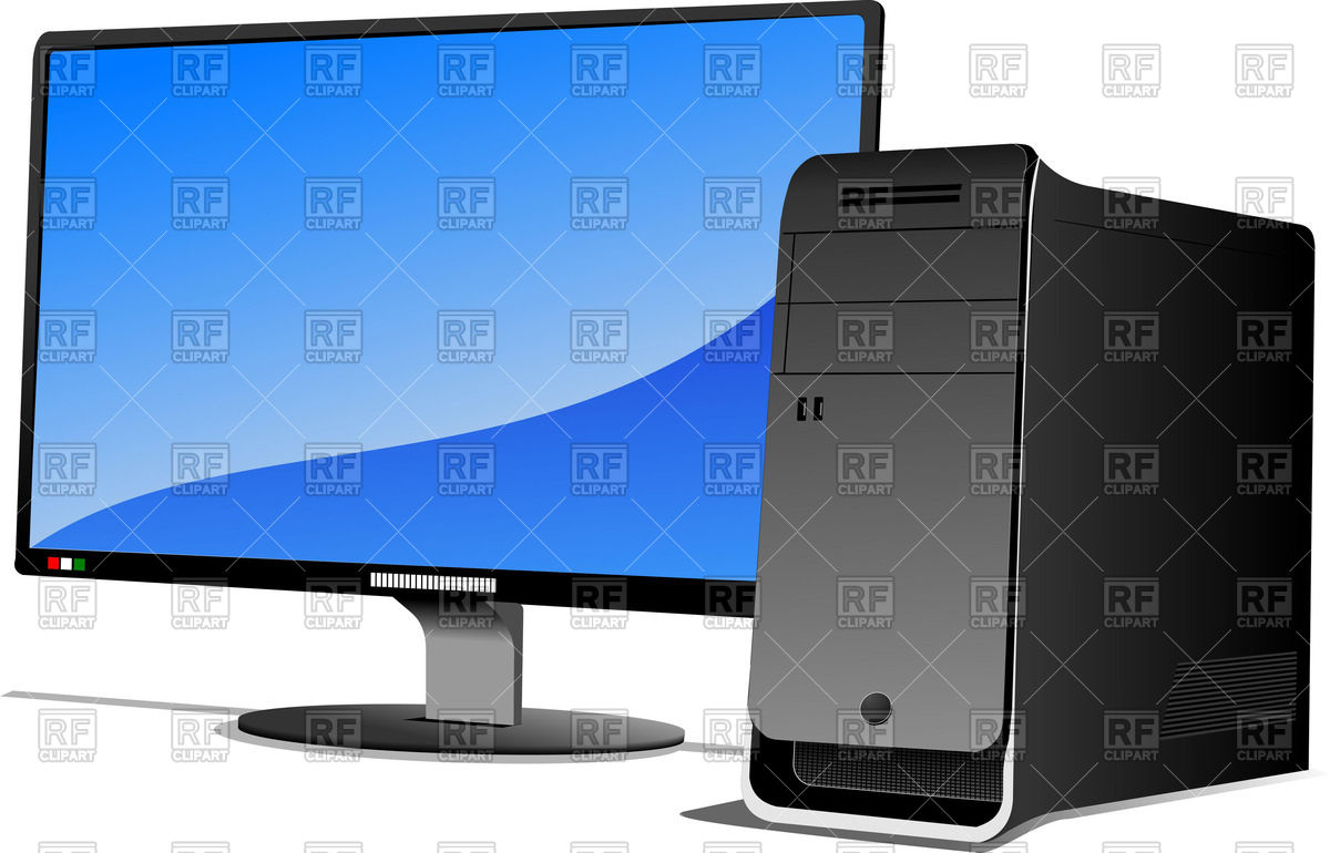 Flat LCD monitor with system unit.