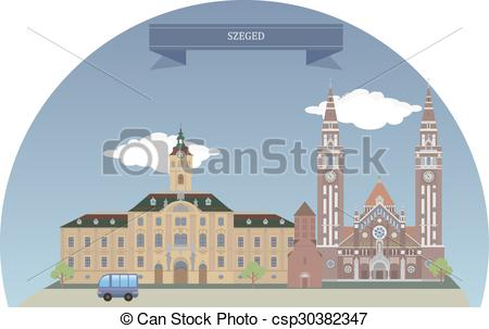 EPS Vector of Szeged, Hungary.
