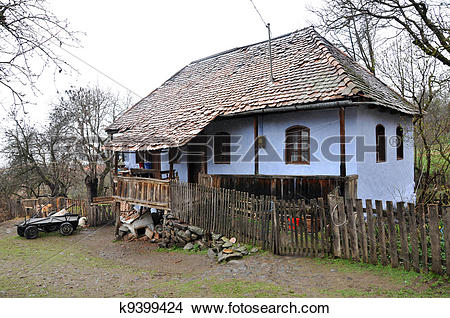Stock Photo of Traditional hungarian house in a szekler village.
