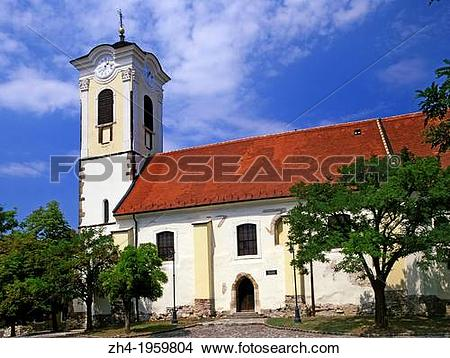Stock Photo of Szentendre, Danube Bend, Hungary. Templom ter.