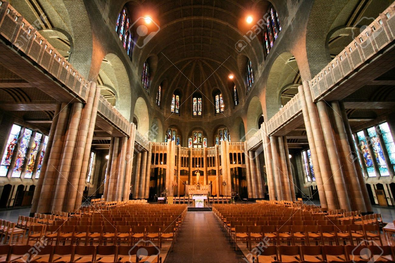 Church Interior: Basilica Of The Sacred Heart In Brussels, Belgium.